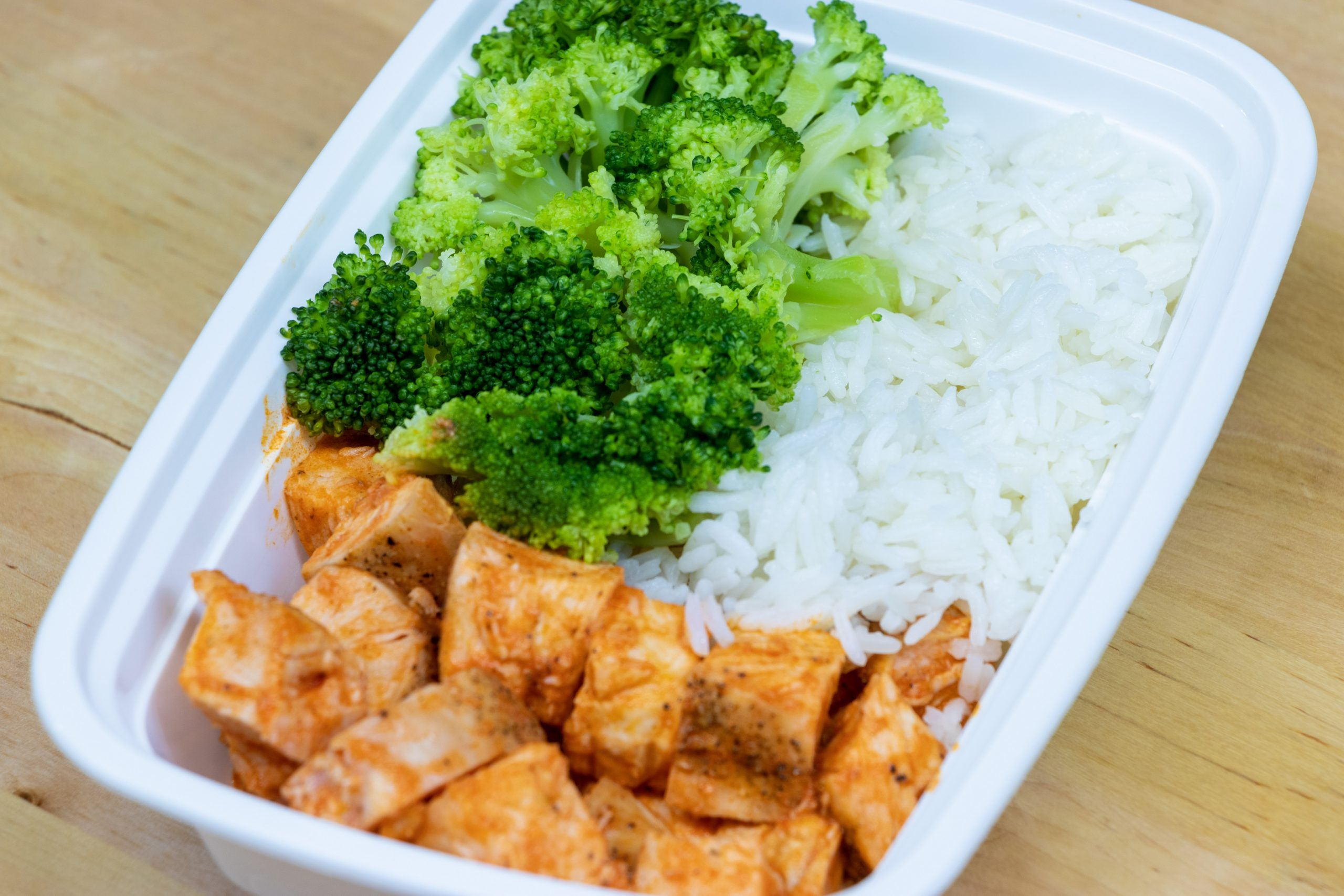 Buffalo chicken, rice and broccoli