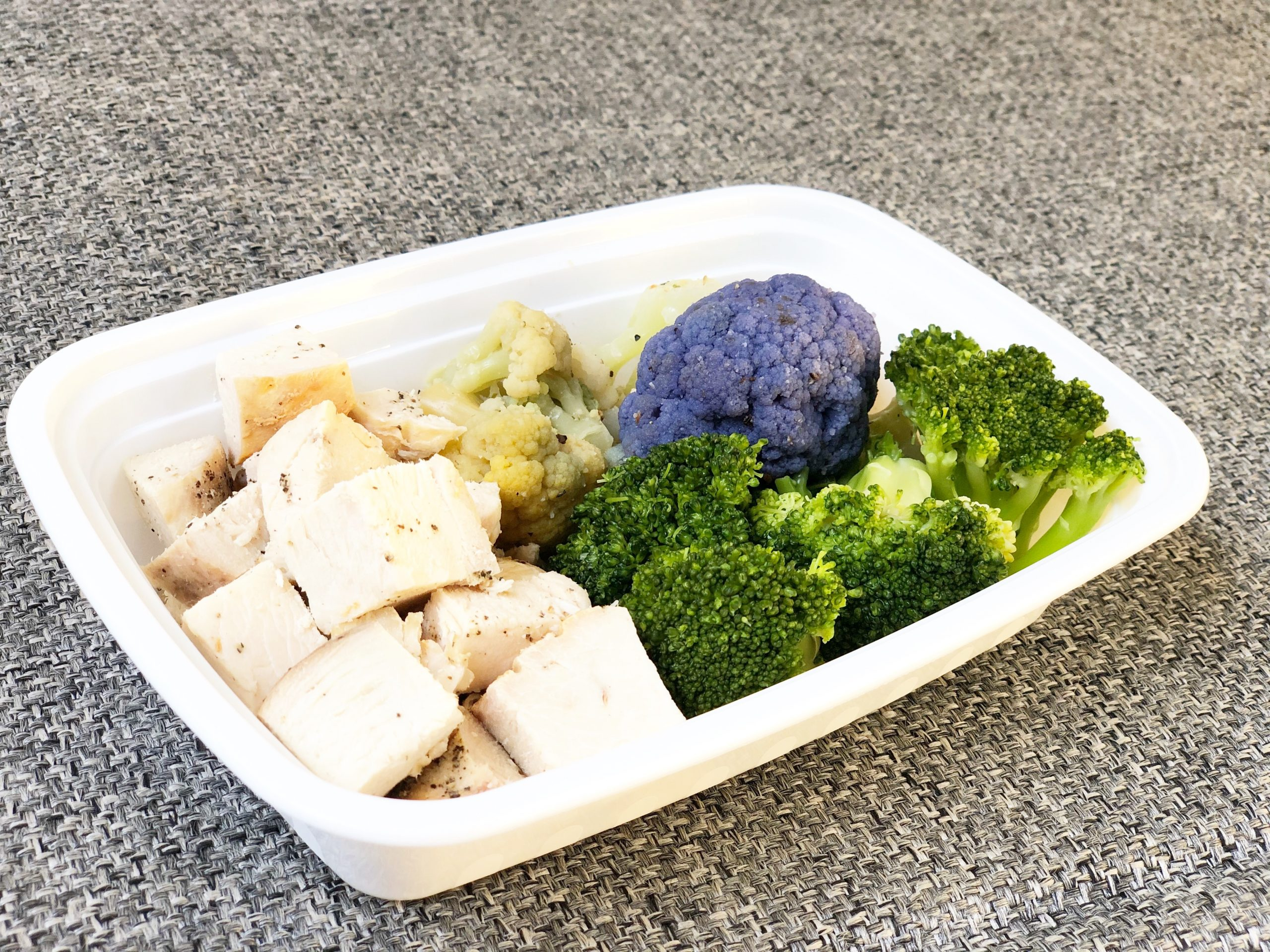 Chicken, broccoli, multi colored cauliflower
