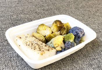 Garlic pepper cod, multi colored cauliflower, brussels sprouts